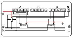 三相三线 电力能效监测终端接线图