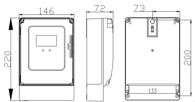 三相预付费电表安装尺寸图